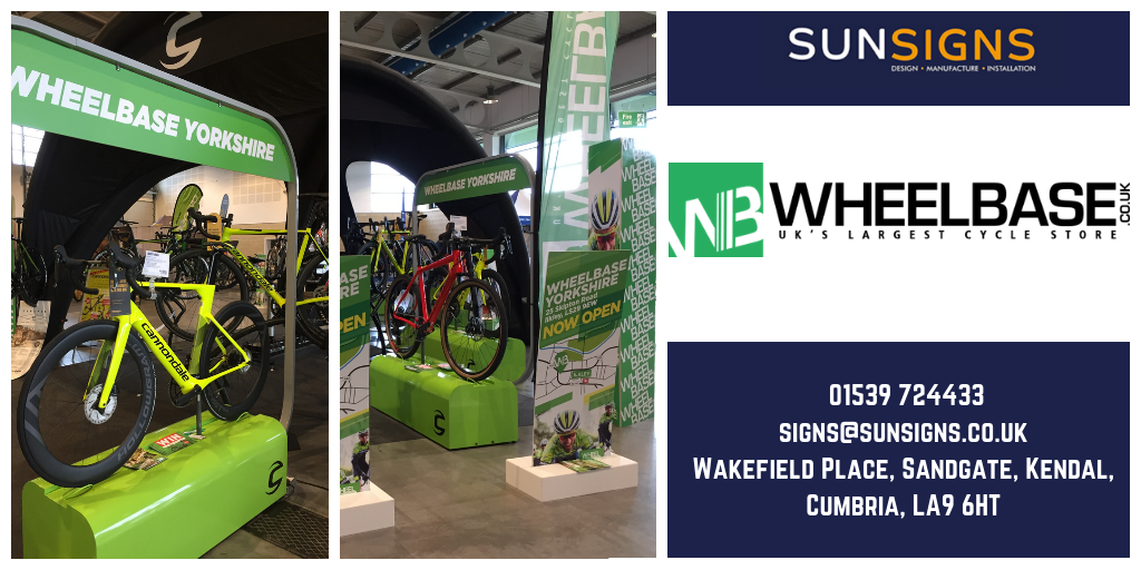 Sun Signs made a range of roller banners and feather stands for Wheelbase at their exhibition stand.